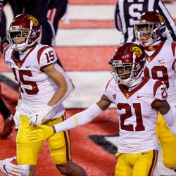 USC Trojans wide receiver Tyler Vaughns (21) celebrates after a touchdown at Rice-Eccles Stadium in Salt Lake City on Saturday, Nov. 21, 2020.