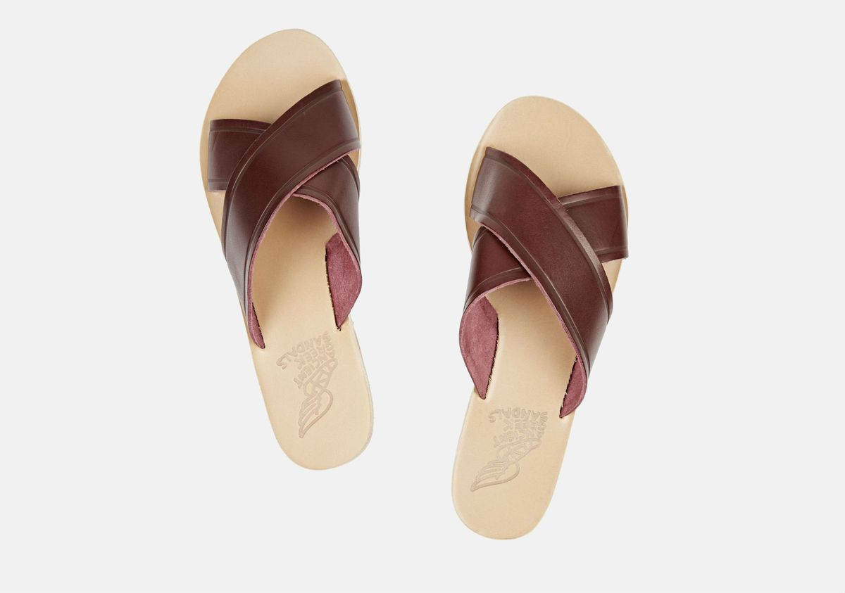 4c0c93a78b26 A pair of leather Ancient Greek slide sandals