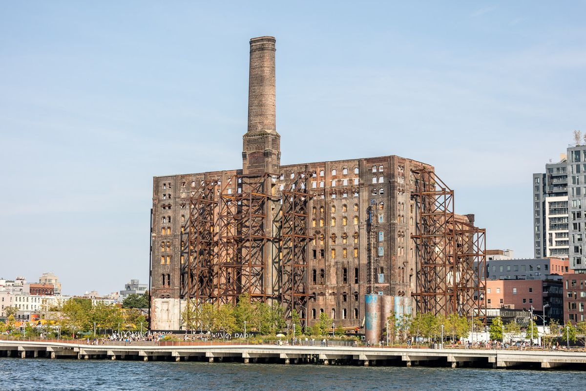 A 19th-century factory stands on the Brooklyn waterfront.