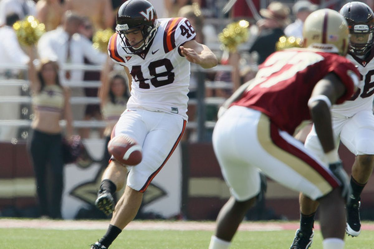 CHESTNUT HILL MA - SEPTEMBER 25:  Justin Myer #48 of the Virginia Tech Hokies kicks the ball off to start the game against the Boston College Eagles  on September 25 2010 at Alumni Stadium in Chestnut Hill Massachusetts.  (Photo by Elsa/Getty Images)