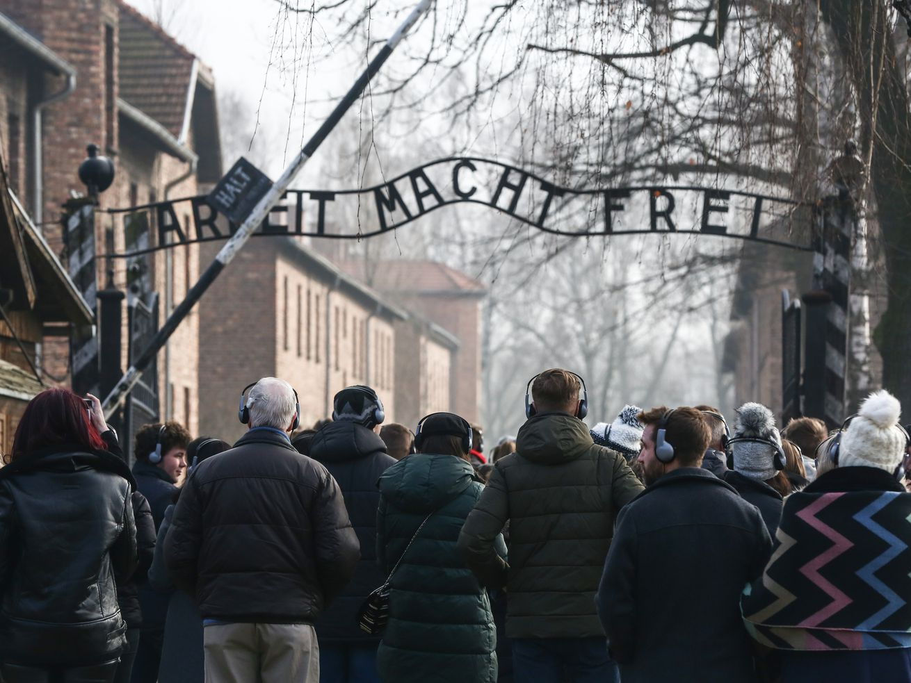 """The main entrance gate """"Arbeit Macht Frei"""" at the former Nazi-German Auschwitz I concentration and extermination camp on February 15, 2019, in Oswiecim, Poland."""