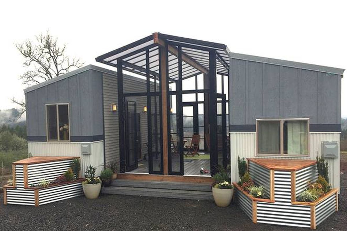 Tiny houses and open air sunroom combine into one family for 2 story tiny house