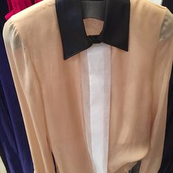 Silk shirt with leather collar, $323 (was $1,290)