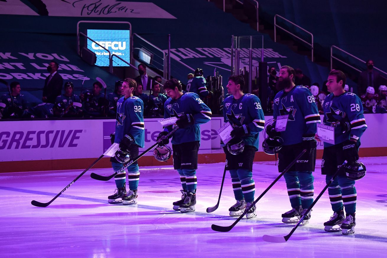 Players and coaches of the San Jose Sharks hold up signs for Hockey Fights Cancer Night before the game against the Colorado Avalanche at SAP Center on May 3, 2021 in San Jose, California.