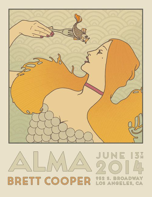 "The poster features an illustration of a white woman with long yellow hair holding up a fork with a Japanese-style catfish on it to her face. Below it reads ""Alma Brett Cooper, June 13th, 2014, 252 S. Broadway, Los Angeles."" The style is very 1920s."