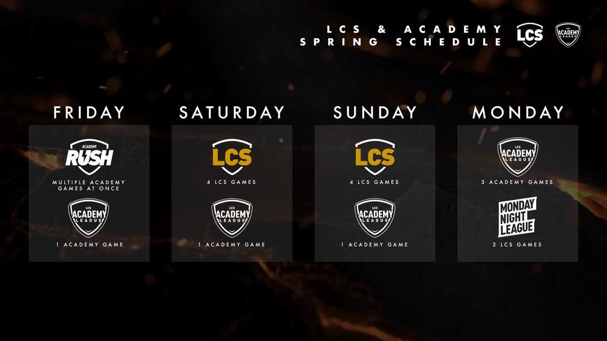 The LCS Schedule for Riot's Spring Split