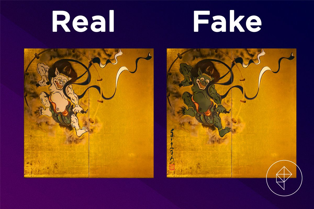 A comparison showing the real and fake Wild Painting Left Half. The fake version shows the beast as green, rather than white