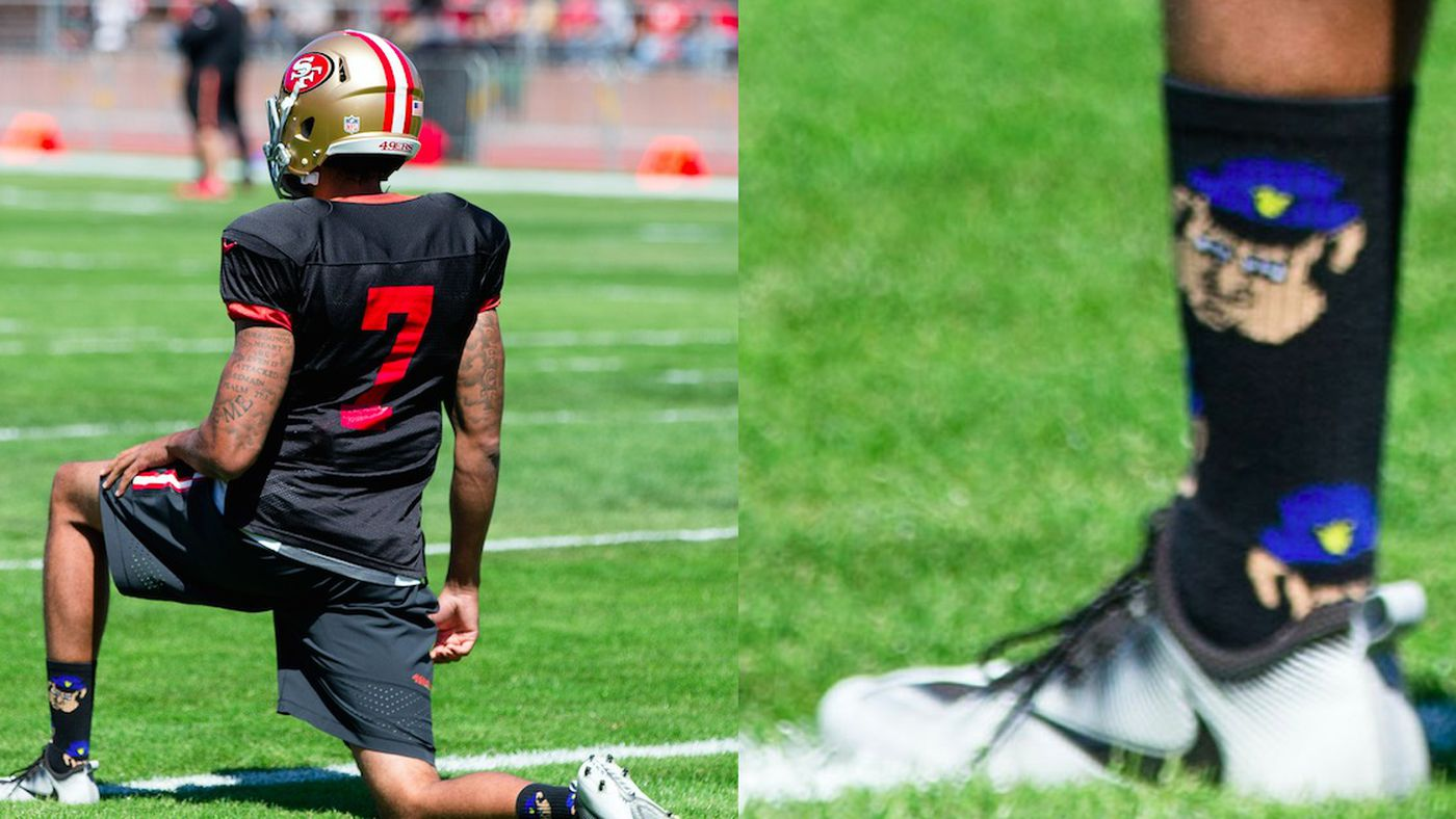 Image result for Kaepernick wearing socks with police as pigs pics