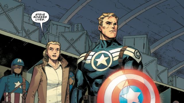 """Steve Rogers in his """"Steve Rogers: Super Soldier"""" costume, with Sharon Carter, in Captain America #12, Marvel Comics (2019)."""