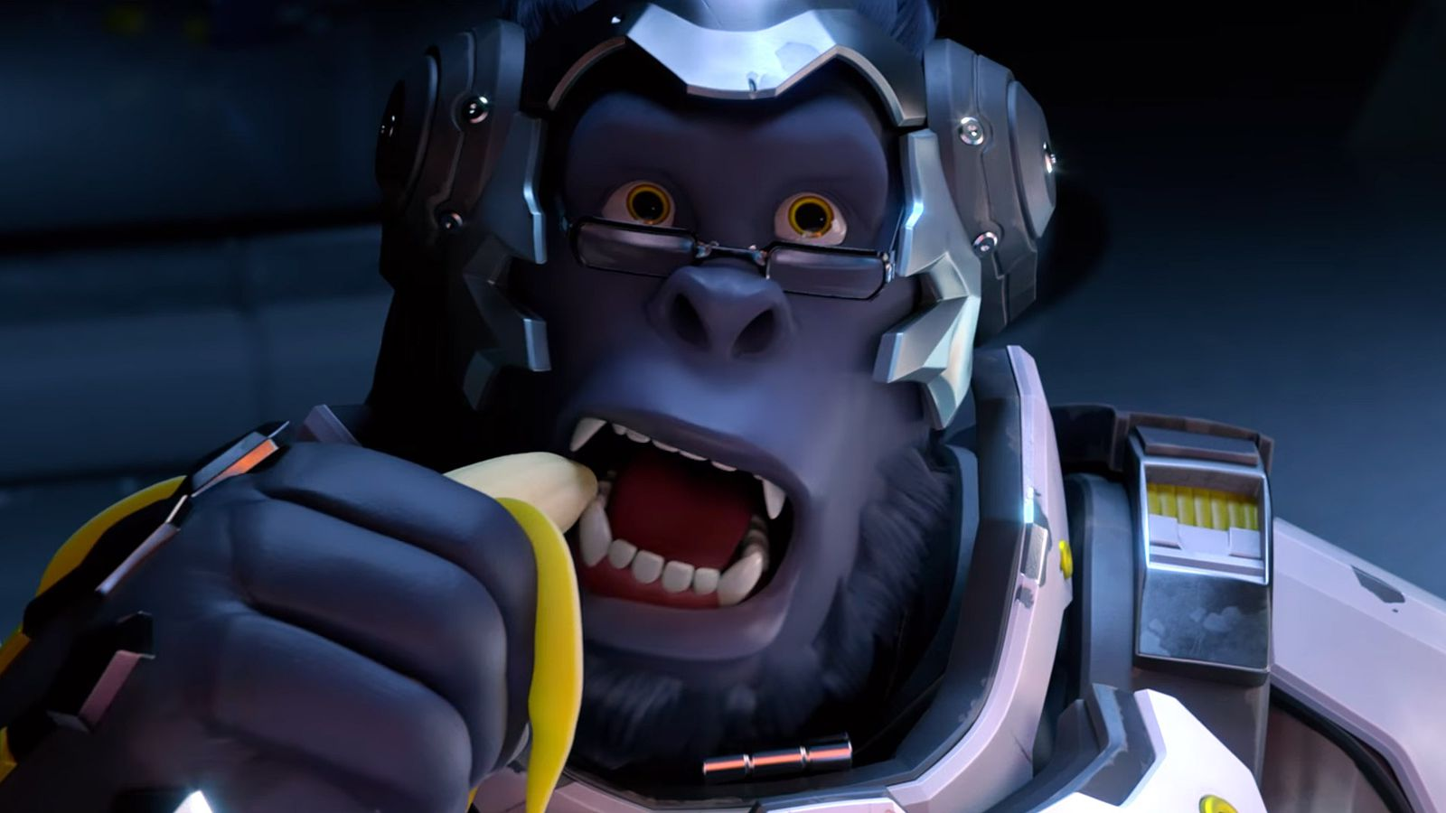 streamer plays overwatch using bunch of bananas as a