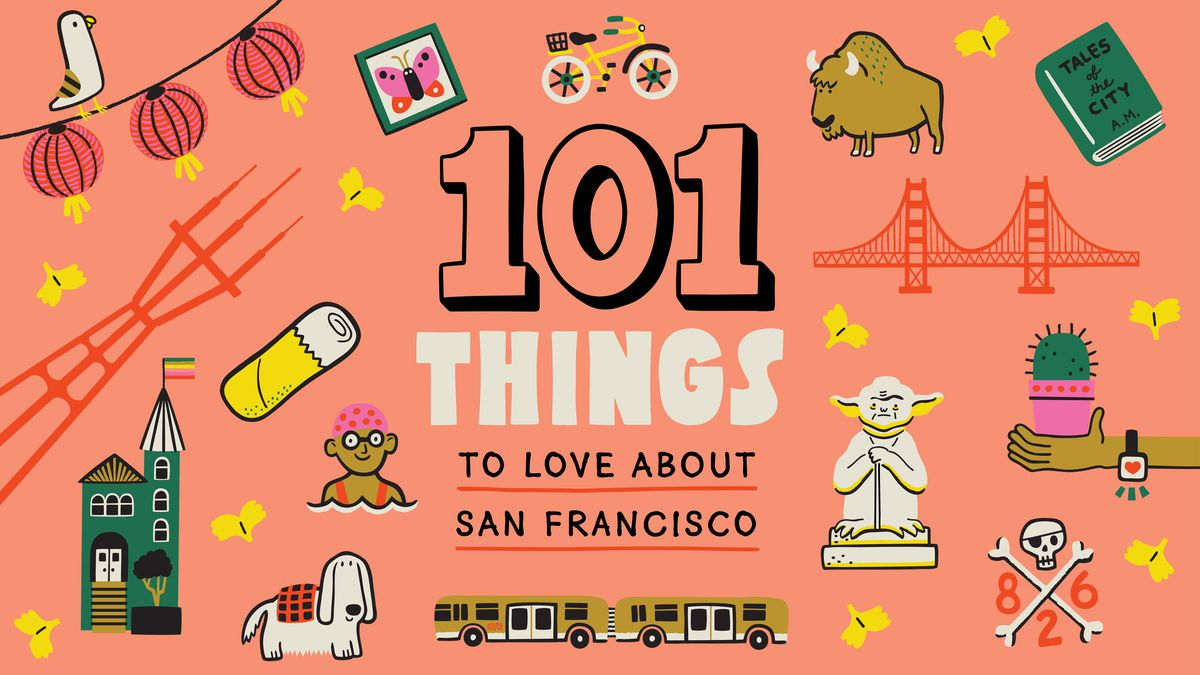An illustrated pattern of notable San Fransisco landmarks including the Sutro Tower, paper lanterns, a Yoda statue, a bus, and the Golden Gate Bridge.