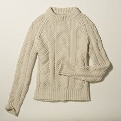 """<strong>LLBean Signature</strong> Cotton Fisherman Sweater in Beige, <a href=""""http://www.llbean.com/llbeansignature/llb/shop/75019?feat=788-GN1&page=cotton-fisherman-sweater&attrValue_0=Beige&productId=1234164&subrnd=1"""">$99</a>"""