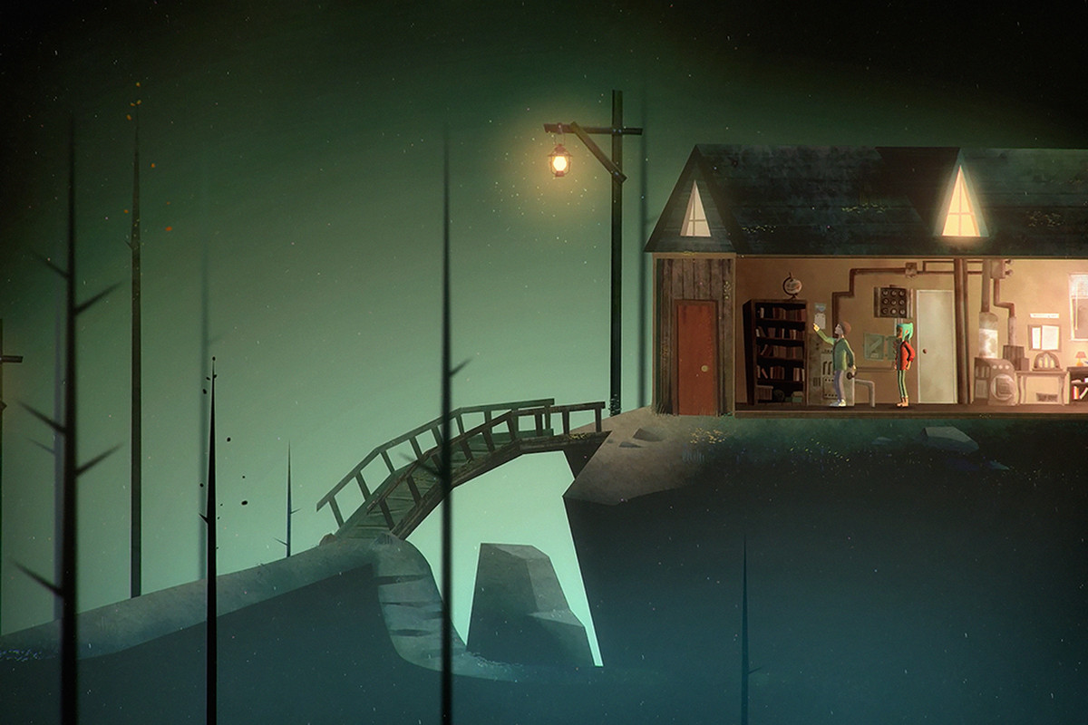 Dark screenshot of a lit up house with two characters inside. A bridge is centered in the frame.