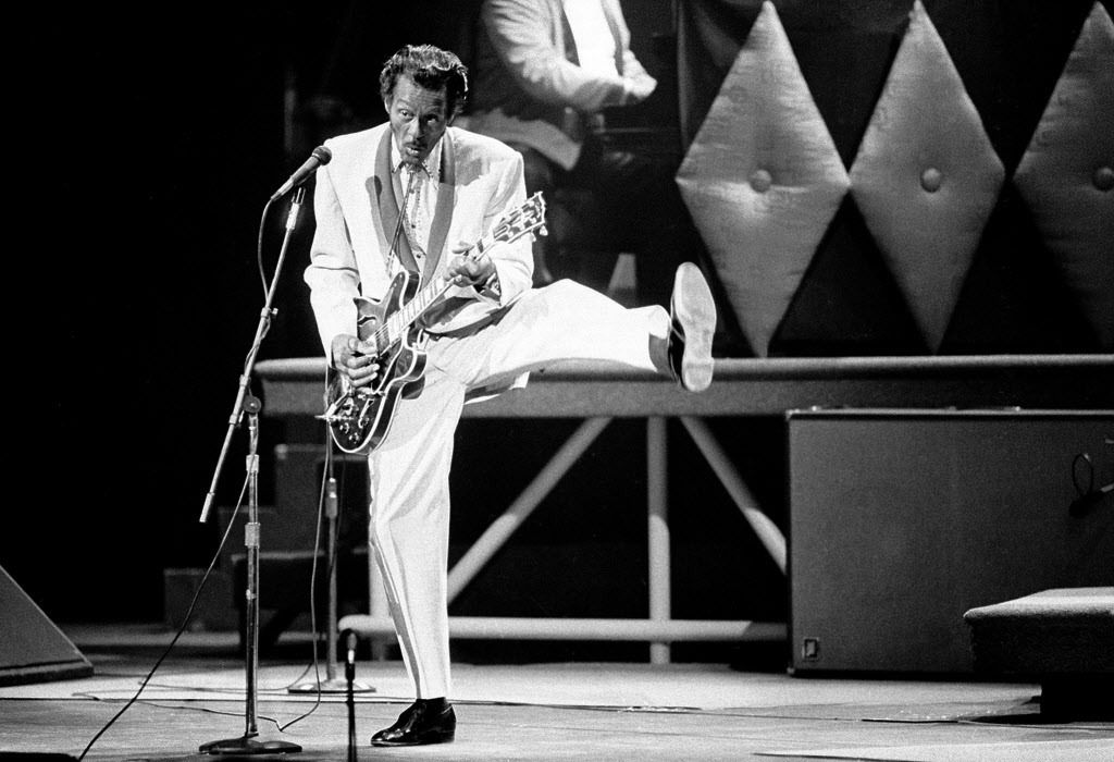 In this Oct. 17, 1986 file photo, Chuck Berry performs during a concert celebration for his 60th birthday at the Fox Theatre in St. Louis, Mo.(AP Photo/James A. Finley)