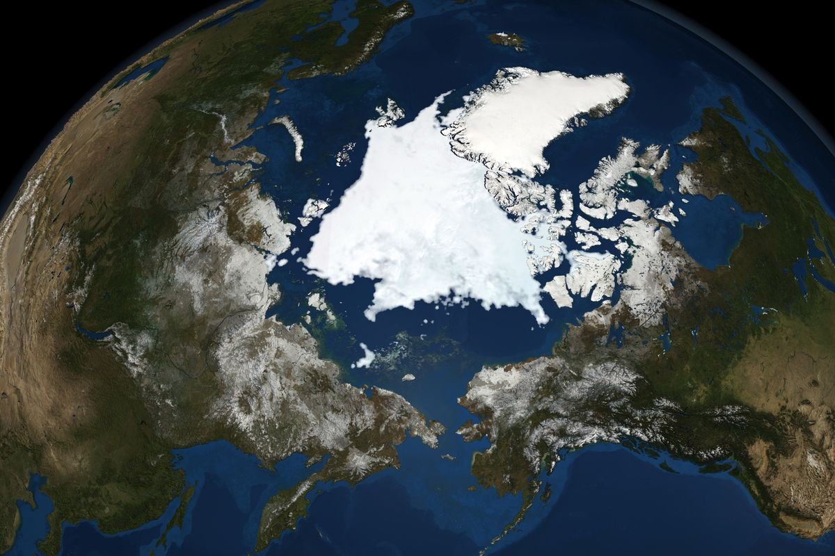 National Snow and Ice Data Centre observations of the Arctic Sea ice coverage in 2008, the second-lowest amount recorded. Credit NASA: Science Earth Geology Oceanography...