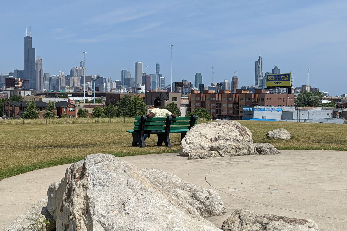 Palmisano Park, with the second best view of downtown Chicago, was a perfect place to sit and contemplate life Thursday. Credit: Dale Bowman
