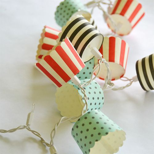 string lights with baking cups