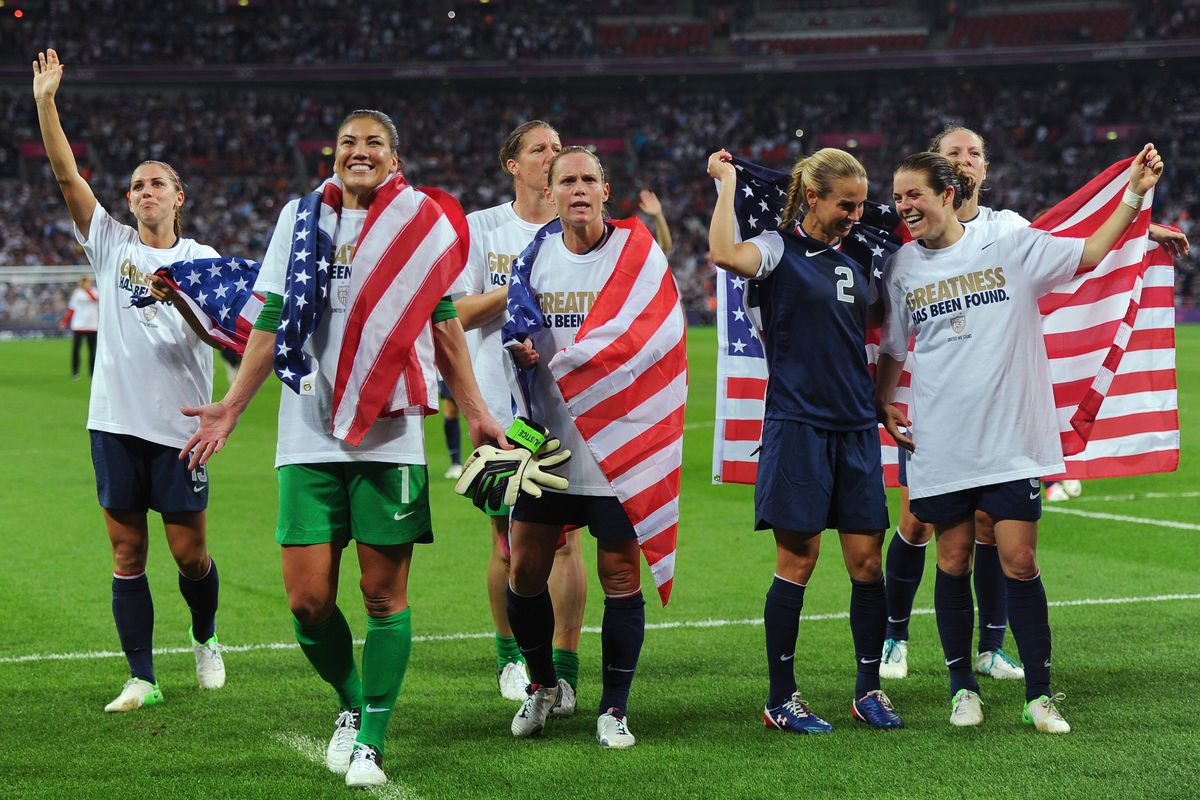 09bdd60623e Sky Blue FC players Christie Rampone (center) and Kelley O Hara (far right)  celebrate winning gold in the 2012 Olympics with their USWNT teammates.