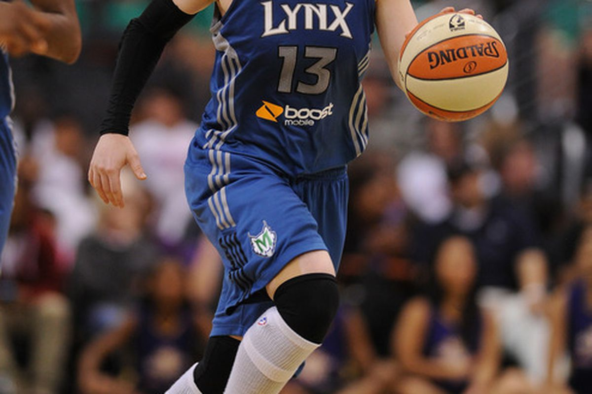 July 5, 2012; Los Angeles, CA, USA;    Minnesota Lynx guard Lindsay Whalen (13) in the second half of the game against the Los Angeles Sparks at the Staples Center. Sparks won 96-90. Mandatory Credit: Jayne Kamin-Oncea-US PRESSWIRE