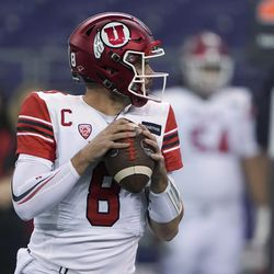 Utah quarterback Jake Bentley drops to pass against Washington during the first half of an NCAA college football game Saturday, Nov. 28, 2020, in Seattle.