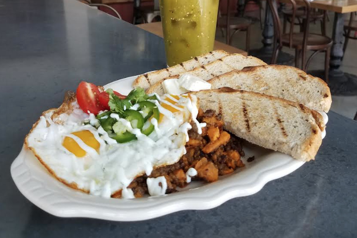 Sweet potato and chorizo hash with a Chili Verde bloody mary at Cunard Tavern