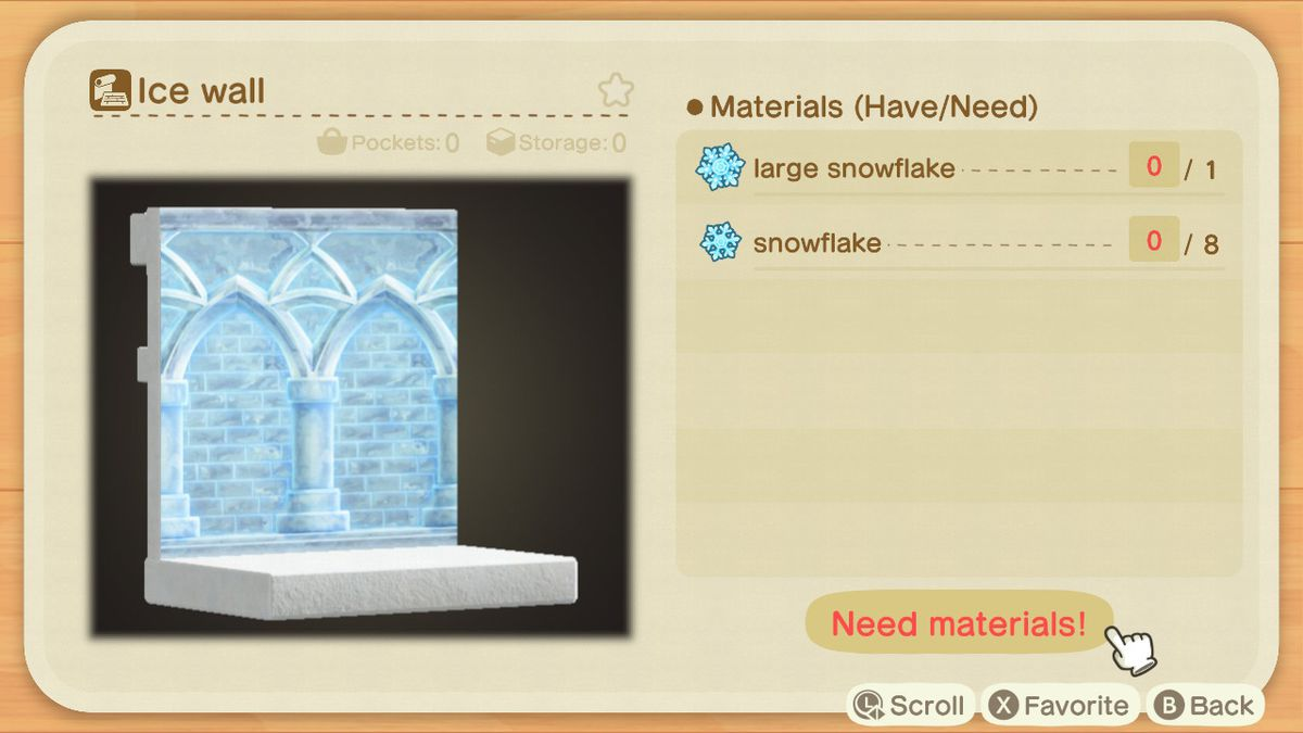 An Animal Crossing recipe for an Ice Wall