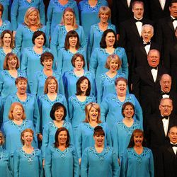 The Mormon Tabernacle Choir performs during Golden Days, A Celebration of Life, in honor of President Thomas S. Monson's 85th birthday at the LDS Conference Center in Salt Lake City on Friday, Aug.  17, 2012.