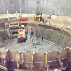 The under-construction baptismal font at the Provo City Center Temple in January 2014.