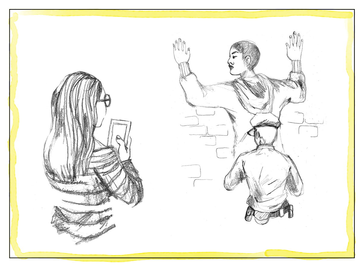 An illustration of a person recording a police officer frisking a man.