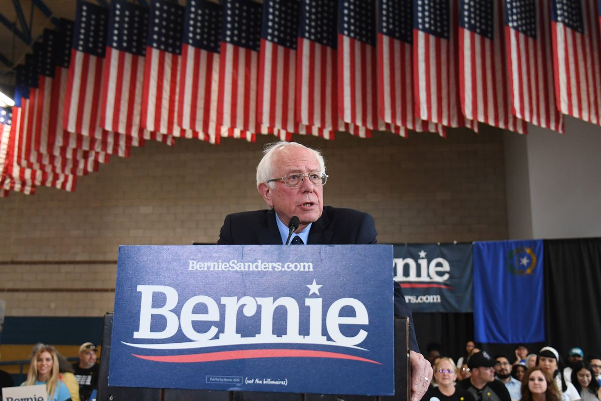 Bernie Sanders at a podium.