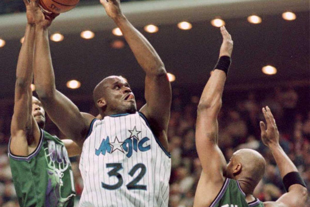 Orlando Magic center (32) Shaquille O'Neal goes up
