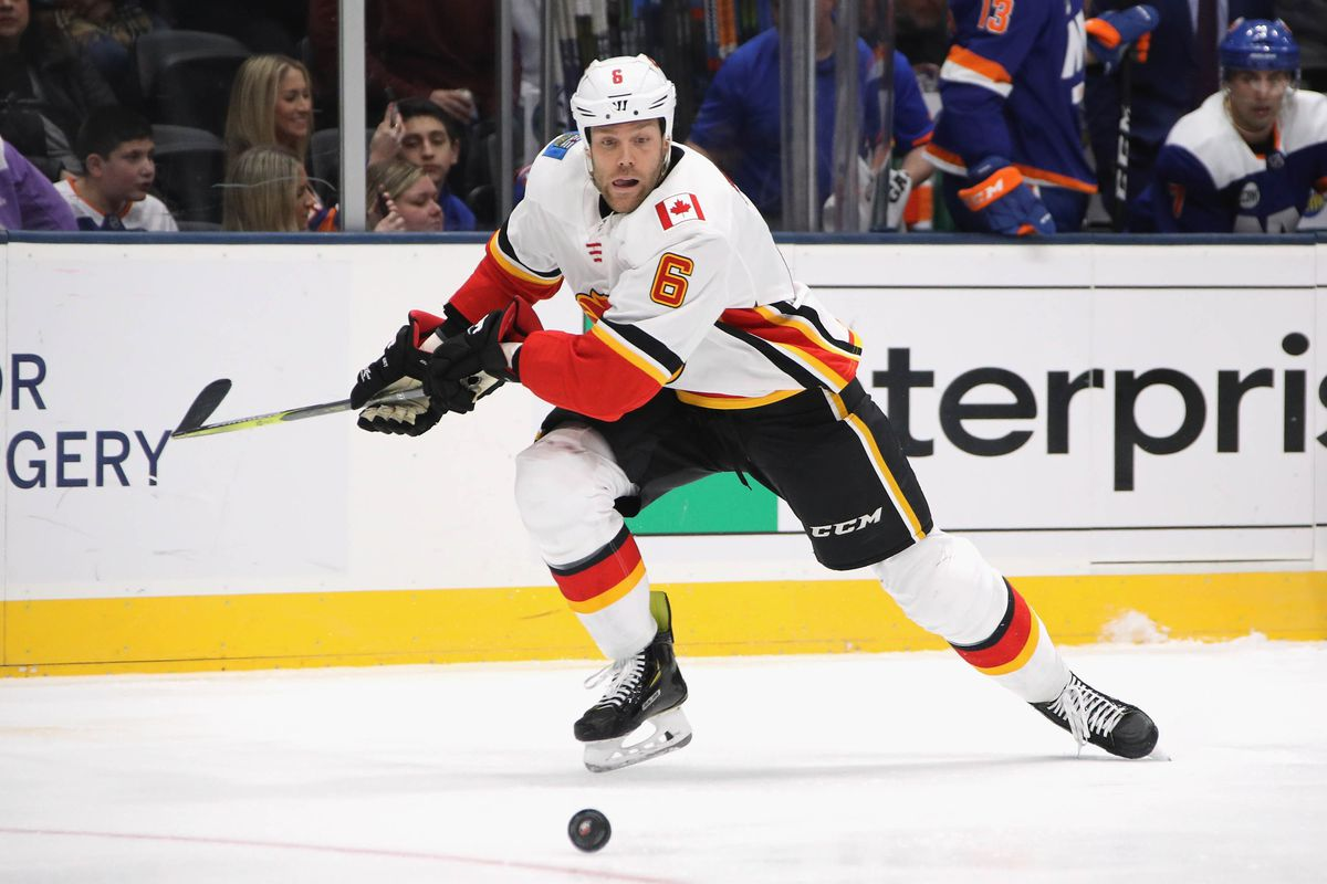UNIONDALE, NEW YORK - FEBRUARY 26: Dalton Prout of the Calgary Flames skates against the New York islanders at NYCB Live's Nassau Coliseum on February 26, 2019 in Uniondale, New York. The Flames defeated the Islanders 3-1.
