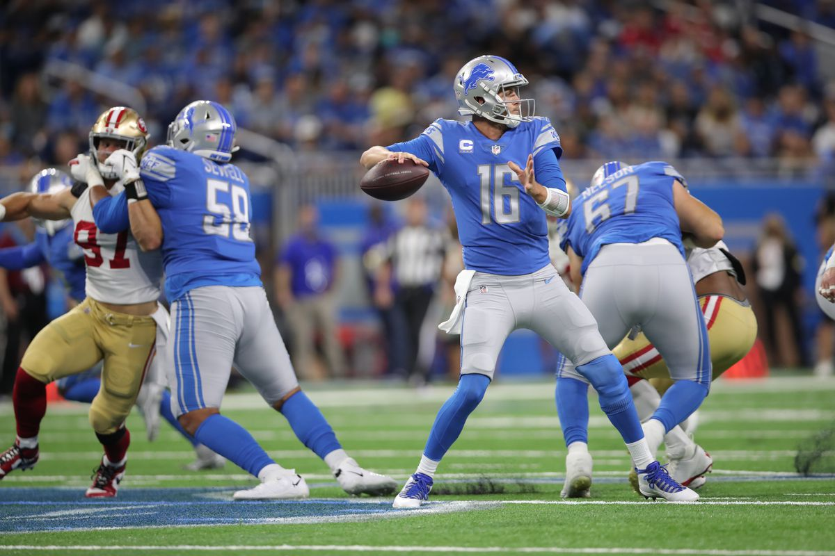 Jared Goff #16 of the Detroit Lions passes during the game against the San Francisco 49ers at Ford Field on September 12, 2021 in Detroit, Michigan.