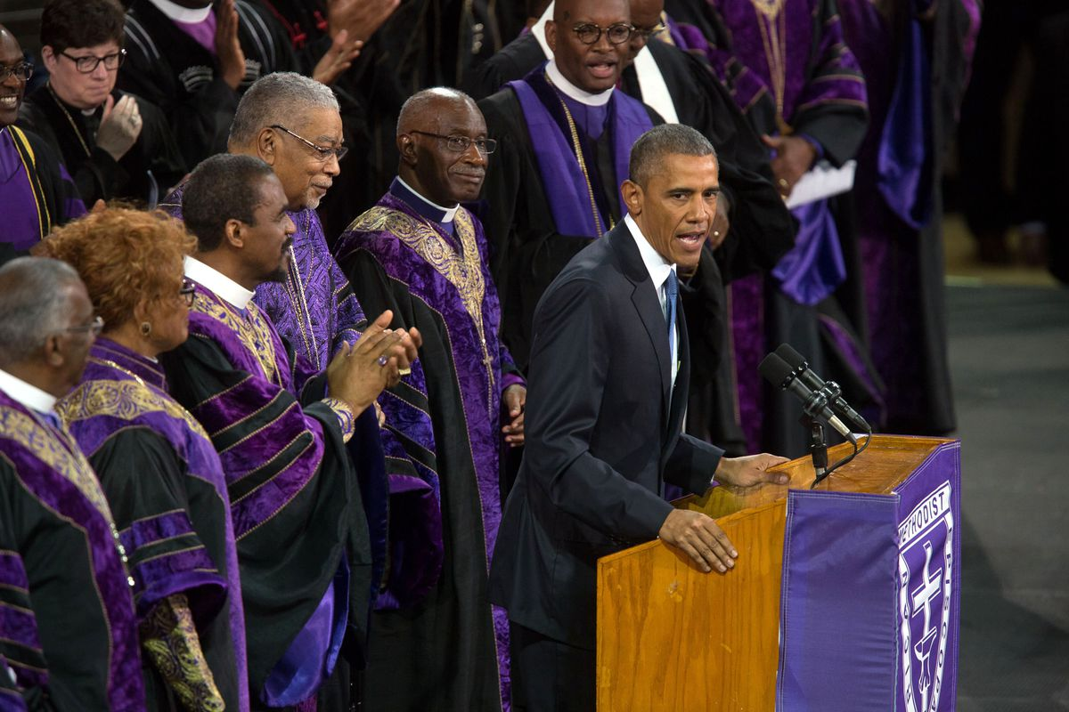 On June 17, 2015, a 21-year-old, self-proclaimed white supremacist massacred nine people during Bible study at Mother Emanuel A.M.E. Church in Charleston. On June 26, 2015, President Barack Obama delivered the eulogy at the funeral of senior pastor the Rev. Clementa Pinckney, at the College of Charleston.