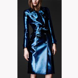 """<b>Burberry</b> Metallic Trench Coat in ink, <a href=""""http://us.burberry.com/store/trench-coats/womens-trench-coats/prorsum/prod-44810451-metallic-trench-coat/"""">$3,195</a>"""