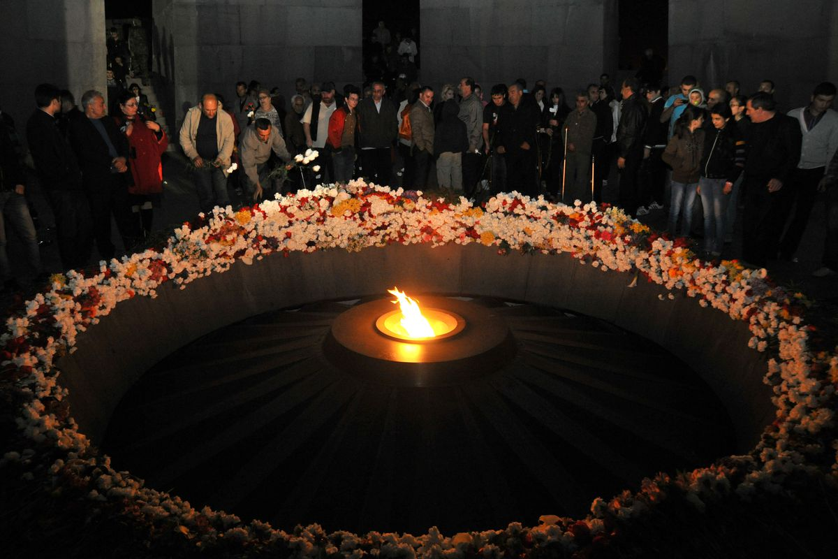Armenians gather at a genocide memorial in 2012.
