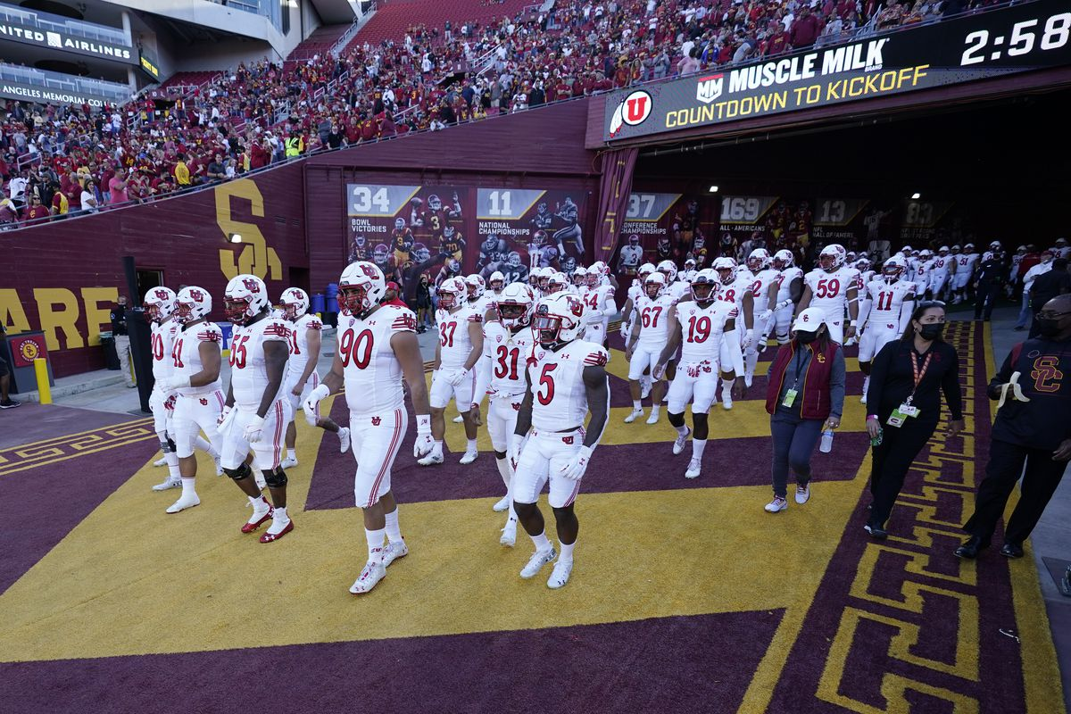 Utah players enter the field before against Southern California Saturday, Oct. 9, 2021, in Los Angeles.