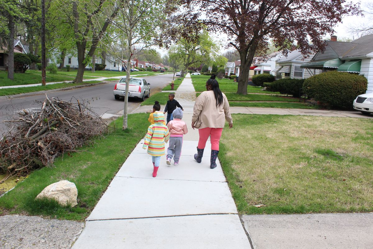 A typical day in Cindy Lester's preschool classroom includes an outdoor walk in the surrounding Brightmoor neighborhood.