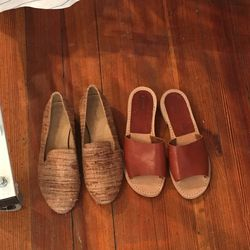 Loafers, $150, and sandals, $120