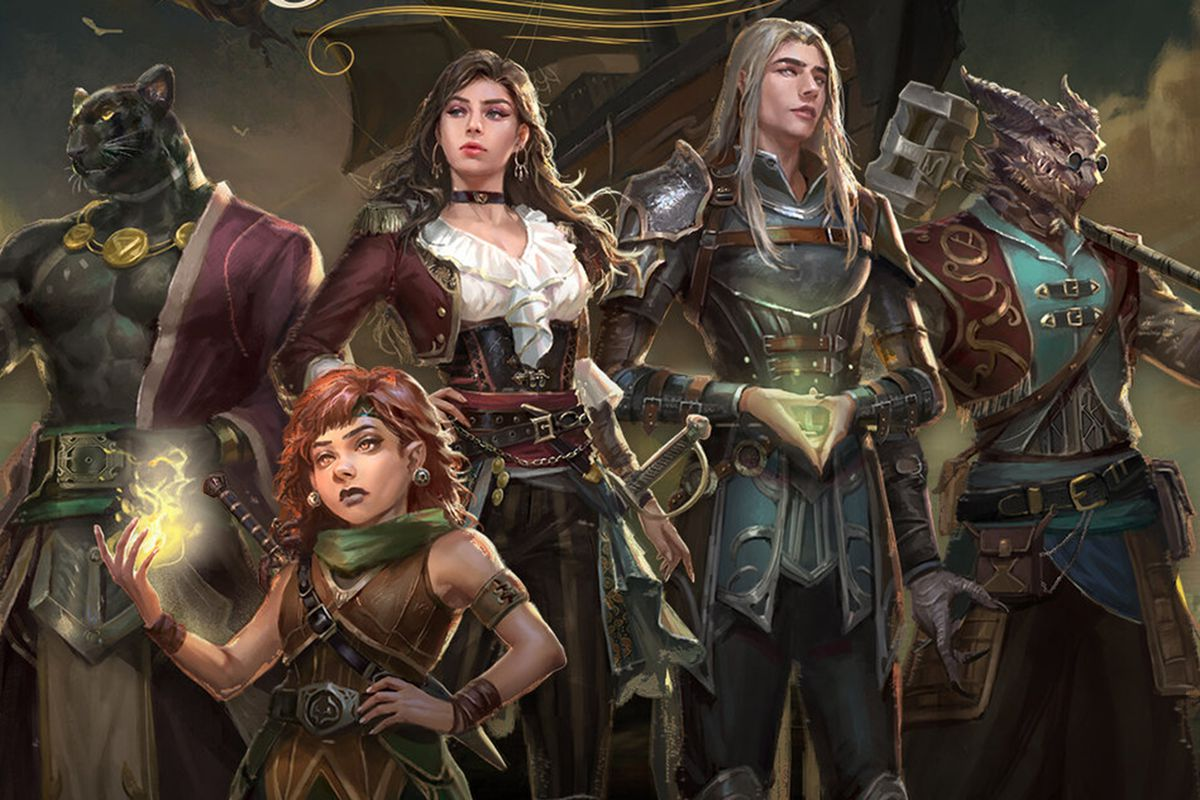 Five adventurers stand in a line. Left to right, a black-furred humanoid panther, a woman dressed as a pirate, an elf-like man in armor with pale eyes, and a dragonborn wielding a hammer. In the foreground, a tiny halfling casts a spell.