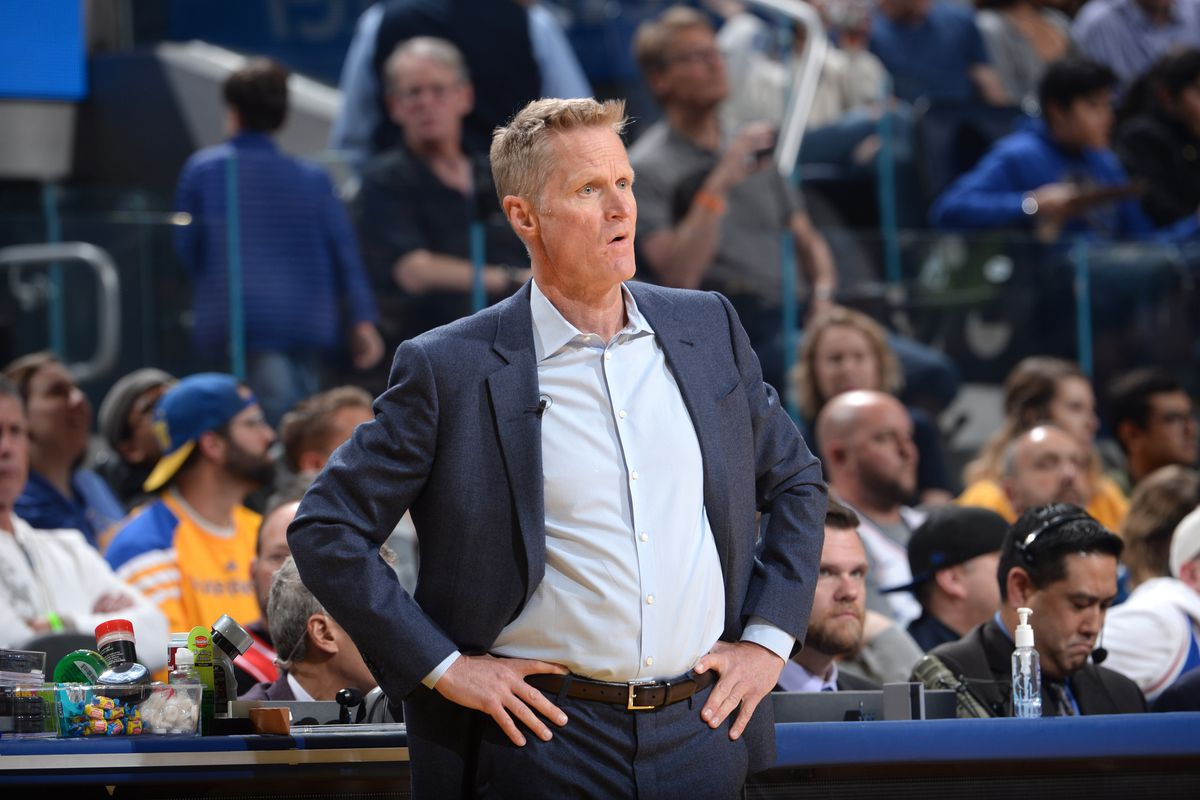Steve Kerr of the Golden State Warriors looks on during the game on March 7, 2020 at Chase Center in San Francisco, California.