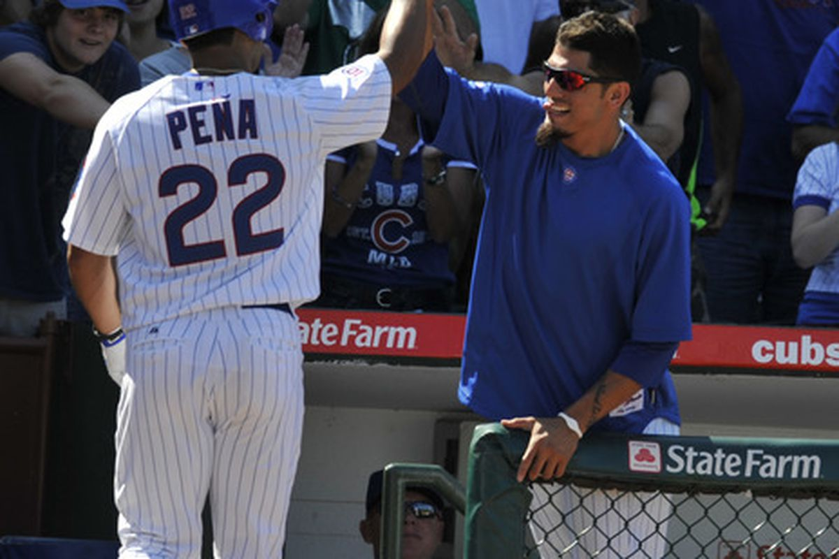 Carlos Pena of the Chicago Cubs is greeted by Matt Garza after hitting a solo homer against the Washington Nationals in the seventh inning at Wrigley Field in Chicago, Illinois. The Cubs defeated the Nationals 4-3. (Photo by David Banks/Getty Images)