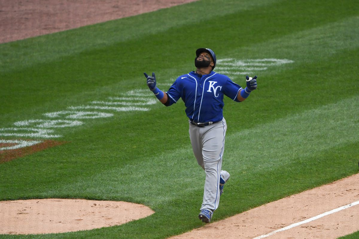 Carlos Santana #41 of the Kansas City Royals laps the bases after hitting a home run in the ninth inning against the Chicago White Sox at Guaranteed Rate Field on April 11, 2021 in Chicago, Illinois.