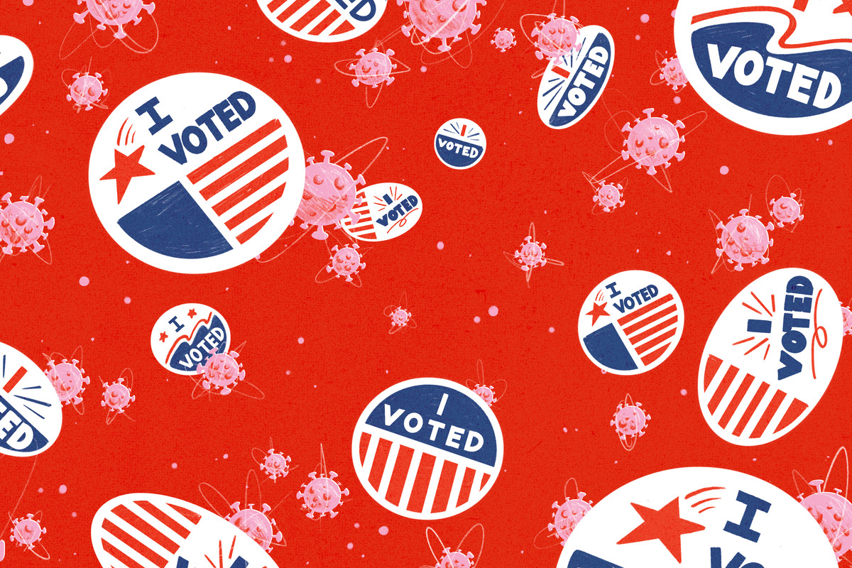 "A collage of floating stickers that read ""I voted"" and Covid-19 particles."