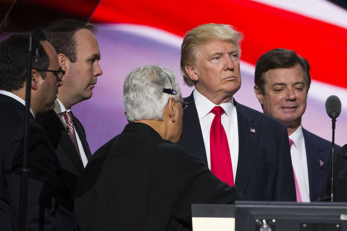 Republican nominee Donald Trump with Trump campaign chairman Paul Manafort and Rick Gates at the Republican Convention, July 21, 2016