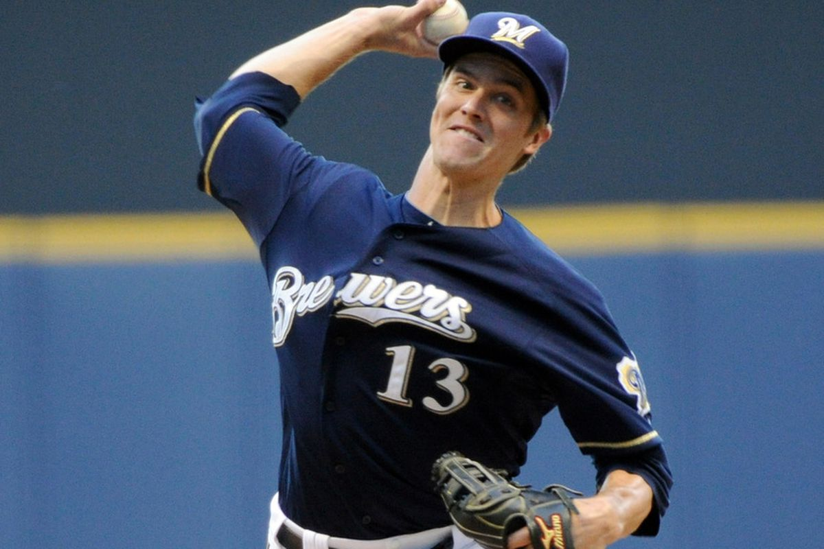 June 6, 2012; Milwaukee, WI, USA;  Milwaukee Brewers pitcher Zack Greinke (13) pitches against the Chicago Cubs at Miller Park.  Mandatory Credit: Benny Sieu-US PRESSWIRE