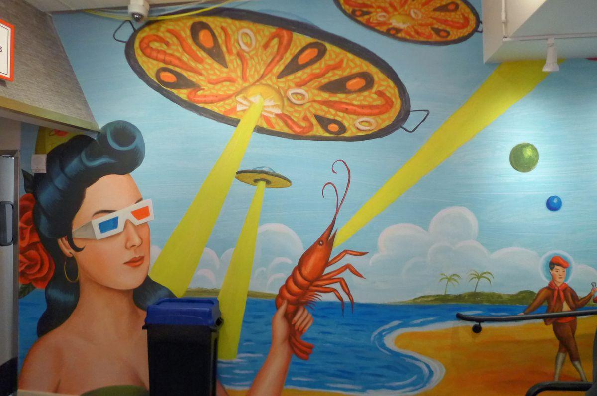 Surrealist mural at Mercado Little Spain