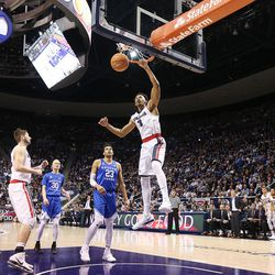 Gonzaga Bulldogs forward Johnathan Williams (3) dunks the ball as BYU and Gonzaga play in an NCAA basketball game in the Marriott Center in Provo on Saturday, Feb. 24, 2018. Gonzaga won 79-65.