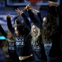 Dance members perform during a timeout as BYU and Texas Southern play an NCAA basketball game in Provo at the Marriott Center on Saturday, Dec. 23, 2017.