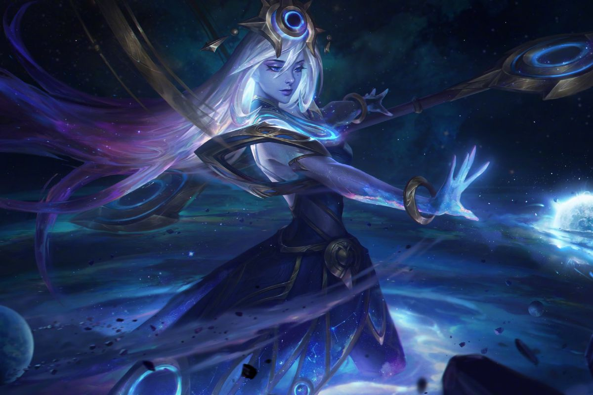 Cosmic Lux holds her hand out towards a blue glowing object